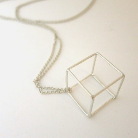 single cube on sterling silver chain